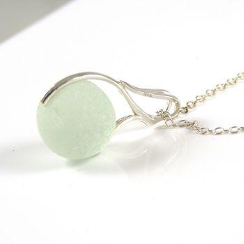 Seafoam Sea Glass Marble Necklace M136