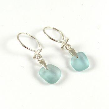 Light Teal Sea Glass Sterling Angel Wing Silver Drop Earrings e158