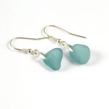 Teal Sea Glass Sterling Silver Drop Earrings e159