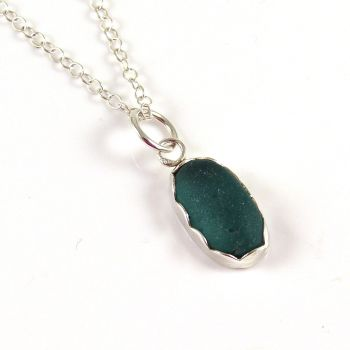 Teeny Tiny Teal Sea Glass Pendant Necklace FREJA