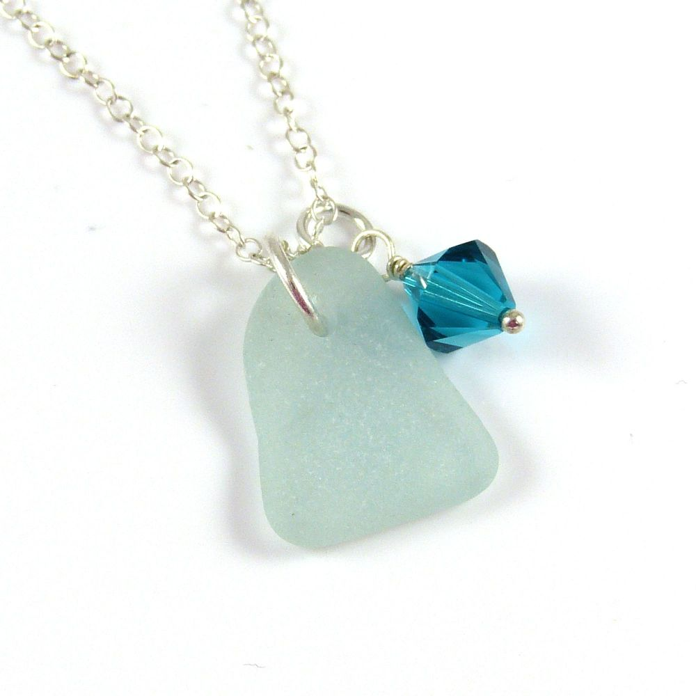 seafoam sea glass and december birthstone necklace (1)