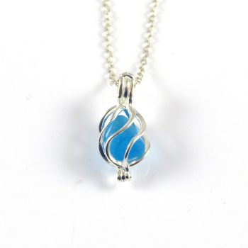 Tiny Turquoise Sea Glass in Tiny Swirl  Locket Necklace