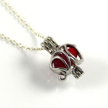 Tiny Red Sea Glass Elephant Locket Necklace L145