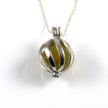 Lemon with a Yellow Cat's Eye Sea Glass Marble in Swirl Locket L143