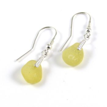 Lemon Yellow Sea Glass and Sterling Silver Earrings e161