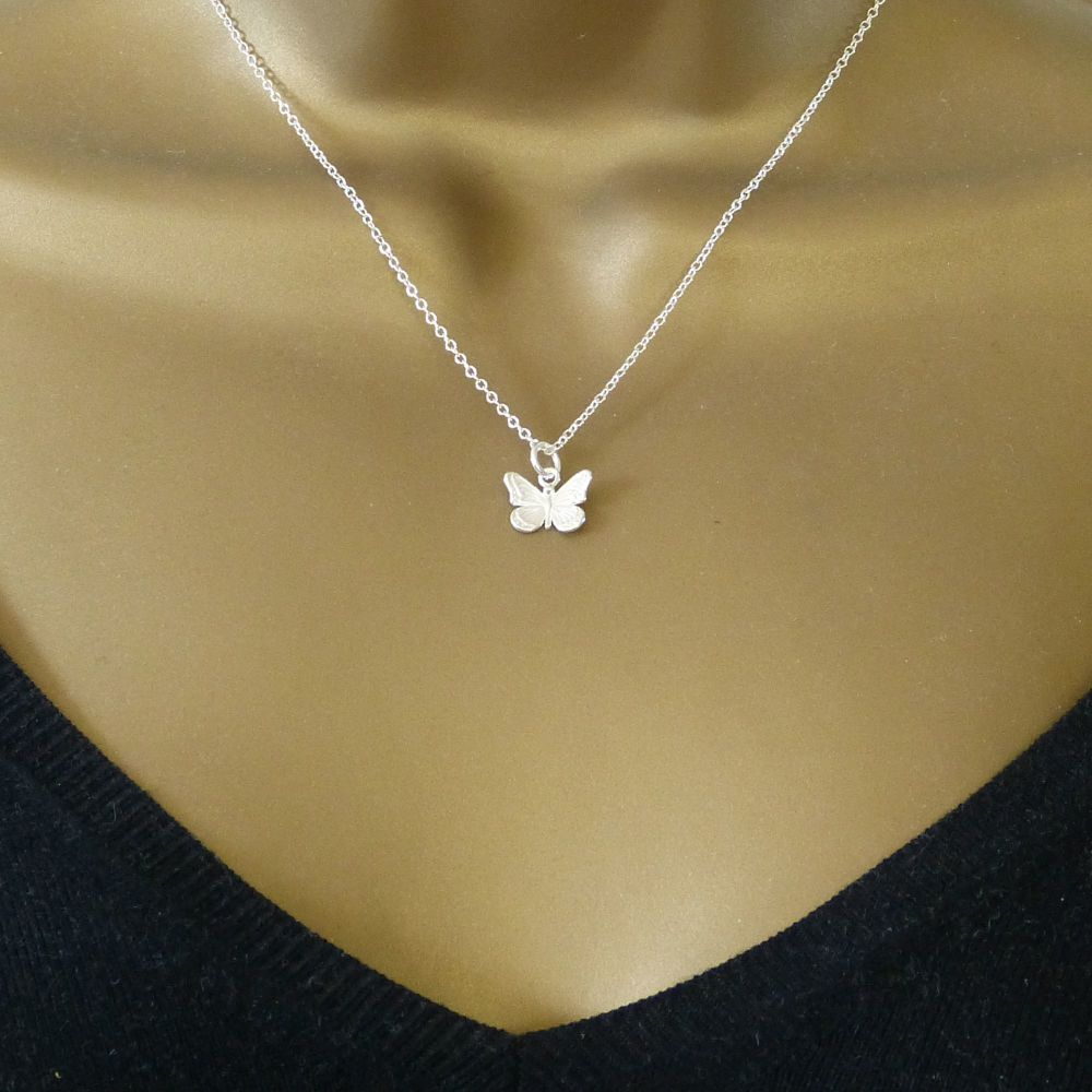Sterling Silver Butterfly Necklace - Simple - Dainty - Minimalist