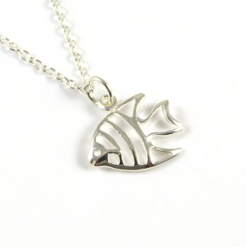 Sterling Silver Angel Fish Necklace - Simple - Dainty - Minimalist