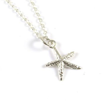 Sterling Silver Sparkly Starfish Necklace - Simple - Dainty - Minimalist