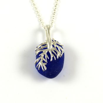 Cobalt Blue Sea Glass and Silver Coral Necklace NATHALIE