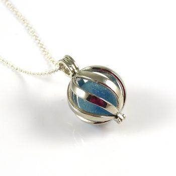 Blue Sea Glass Marble in Swirl Locket L149