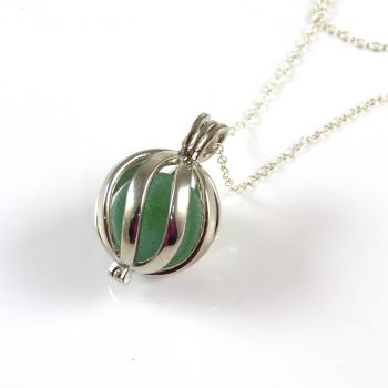 Sea Green Sea Glass Marble in Swirl Locket L148