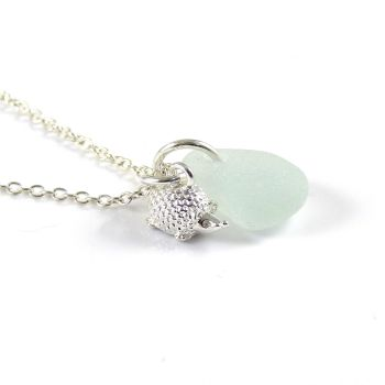 Pale Blue Sea Glass and Sterling Silver Hedgehog Necklace L153