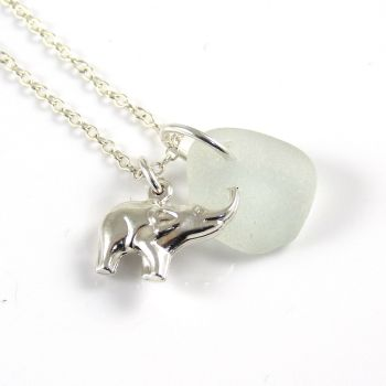 Pale Blue Sea Glass and Sterling Silver Elephant Necklace L152