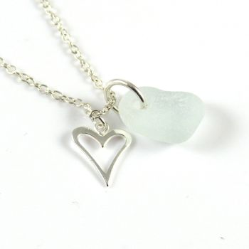 Pale Blue Sea Glass and Sterling Silver Heart Necklace L151