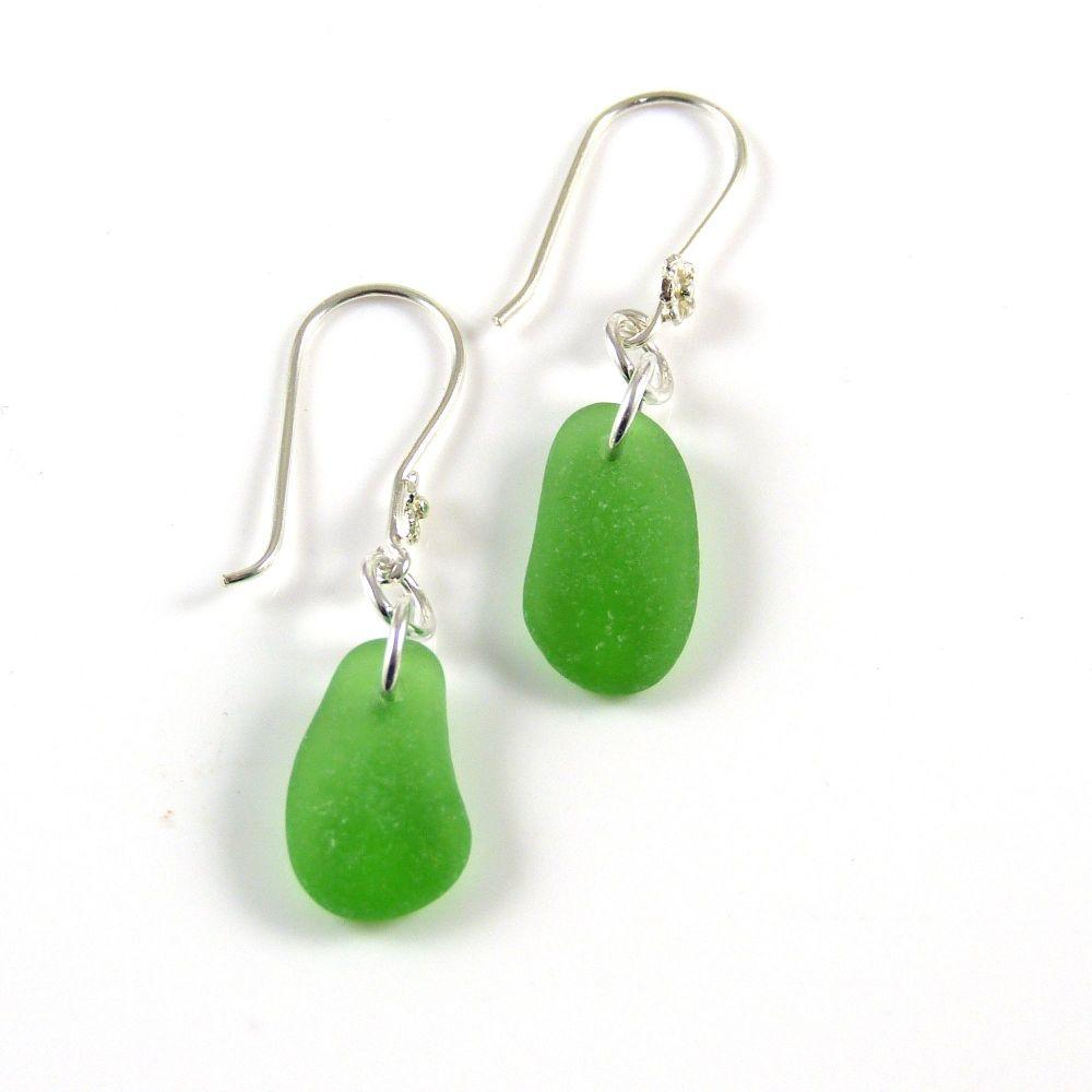 Green Sea Glass Drop Earrings e166