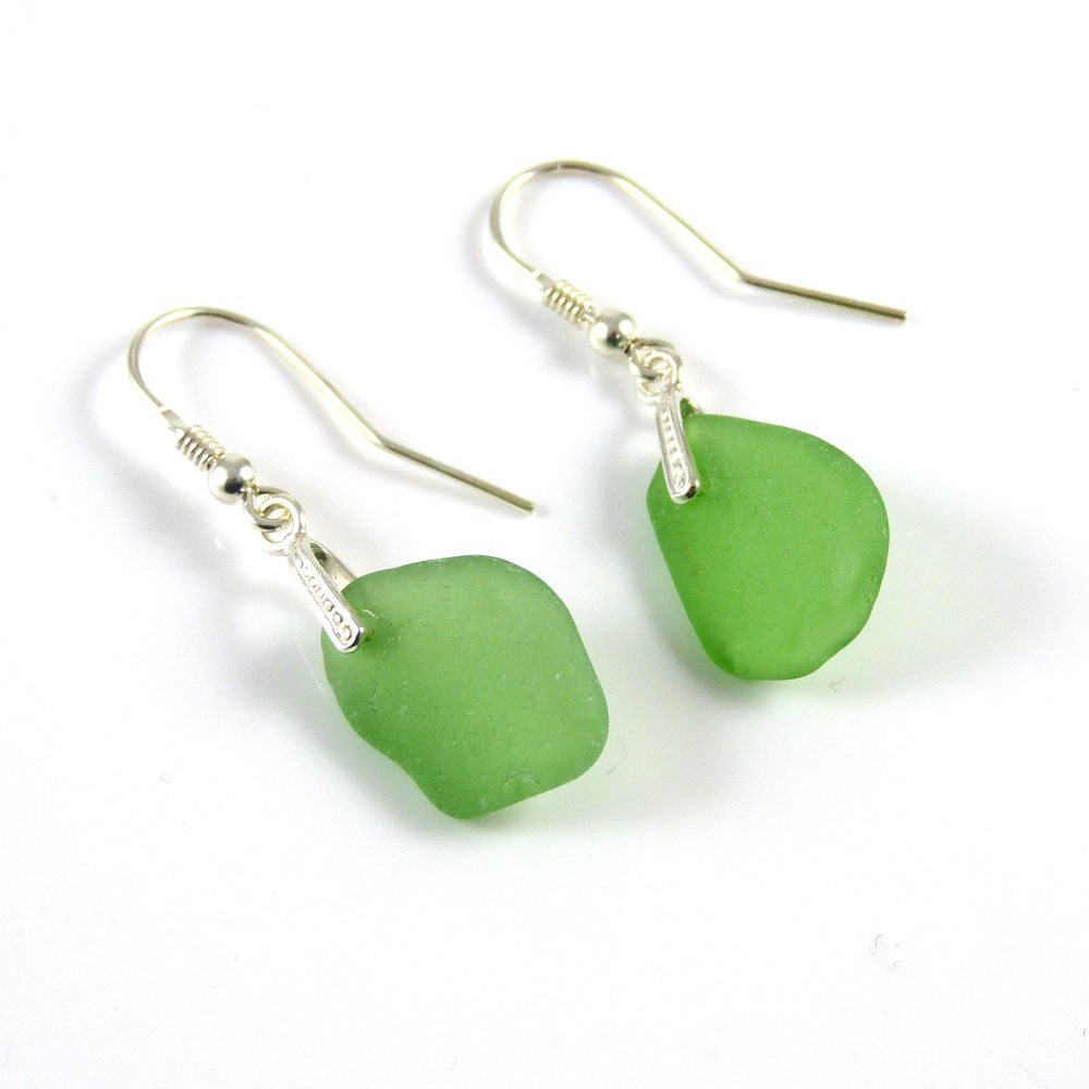 Green Sea Glass Drop Earrings e167