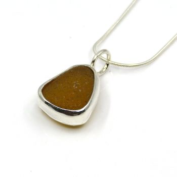 Amber Sea Glass Pendant Necklace CLARA