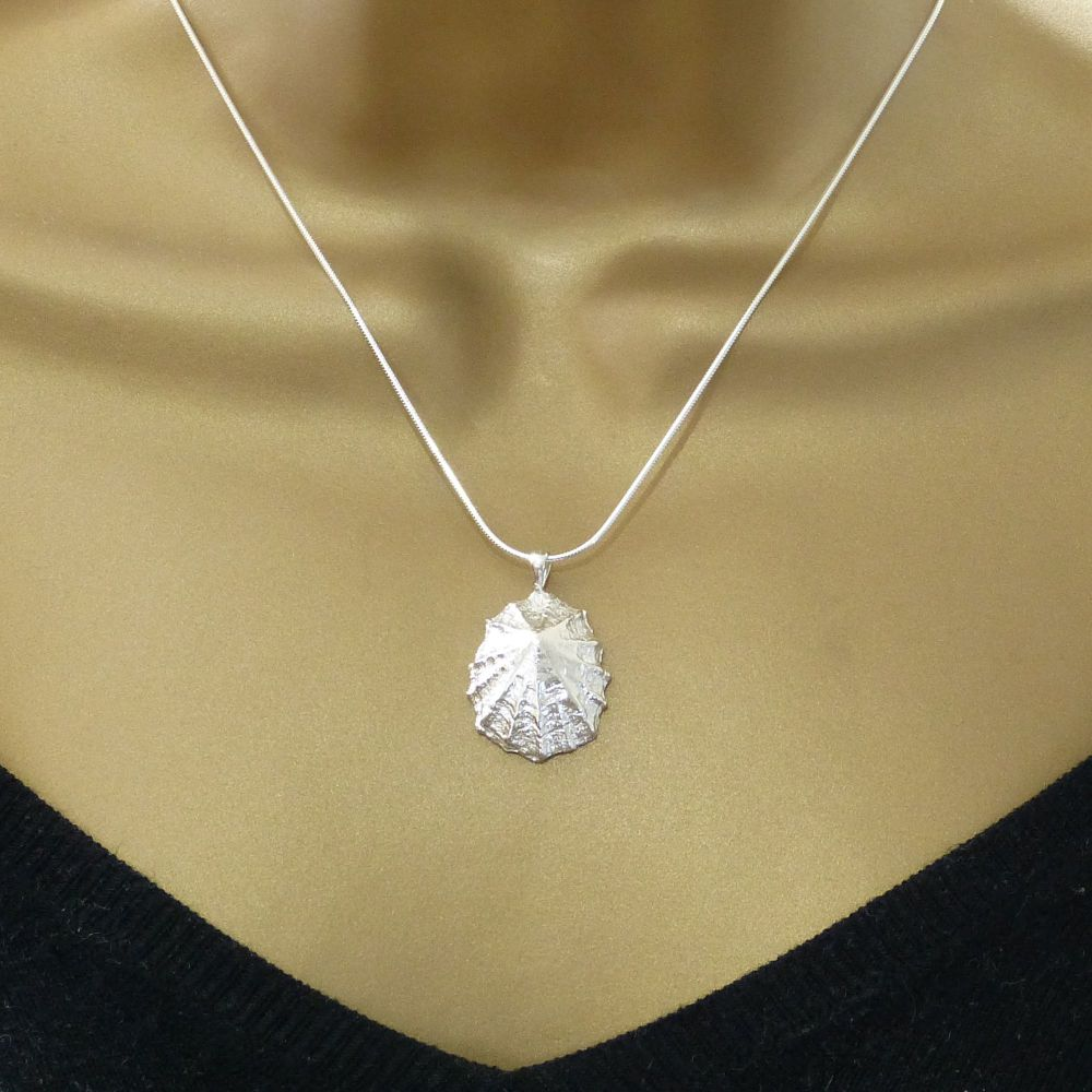 Sterling Silver Cast Limpet Seashell Pendant Necklace Hallmarked