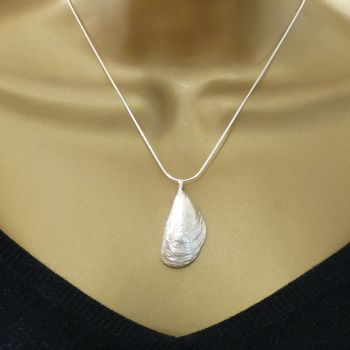 Sterling Silver Mussel Shell Pendant Necklace  - Large Mussel Shell