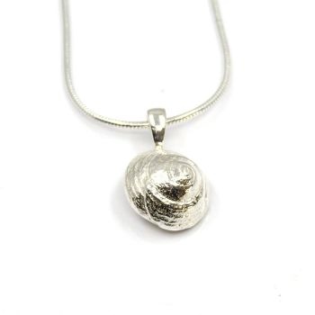 Sterling Silver Cast Periwinkle Seashell Pendant Necklace