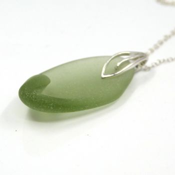 Sage Green Sea Glass and Sterling Silver Necklace MAYA