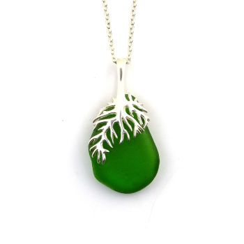 Emerald Green Sea Glass And Silver Tendril Pendant Necklace - LILY