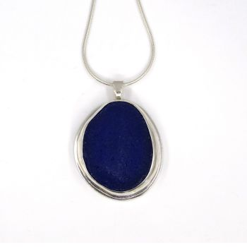 Cobalt Blue Sea Glass Pendant Necklace SELENA