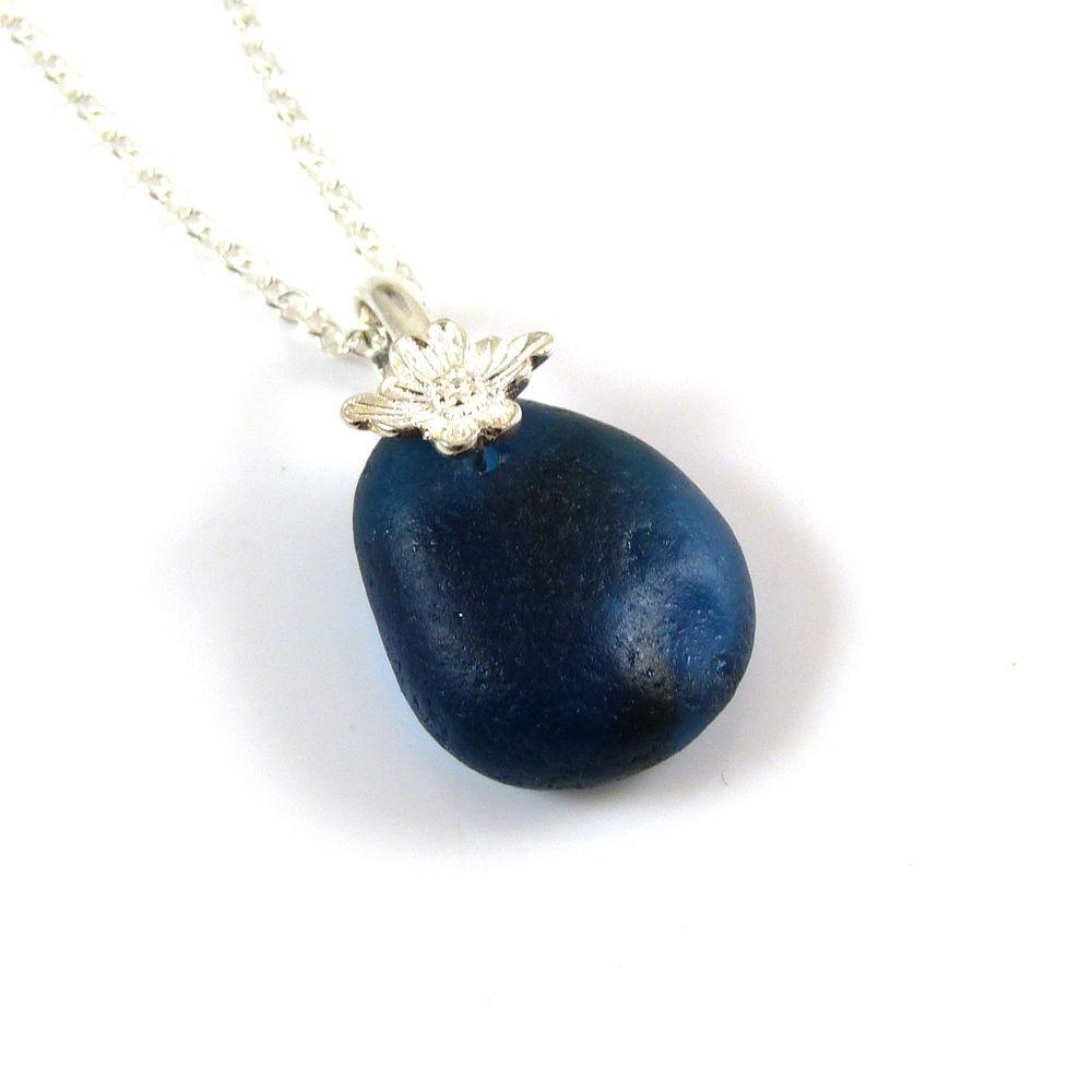 Cobalt Blue Seaham Sea Glass Necklace ADA