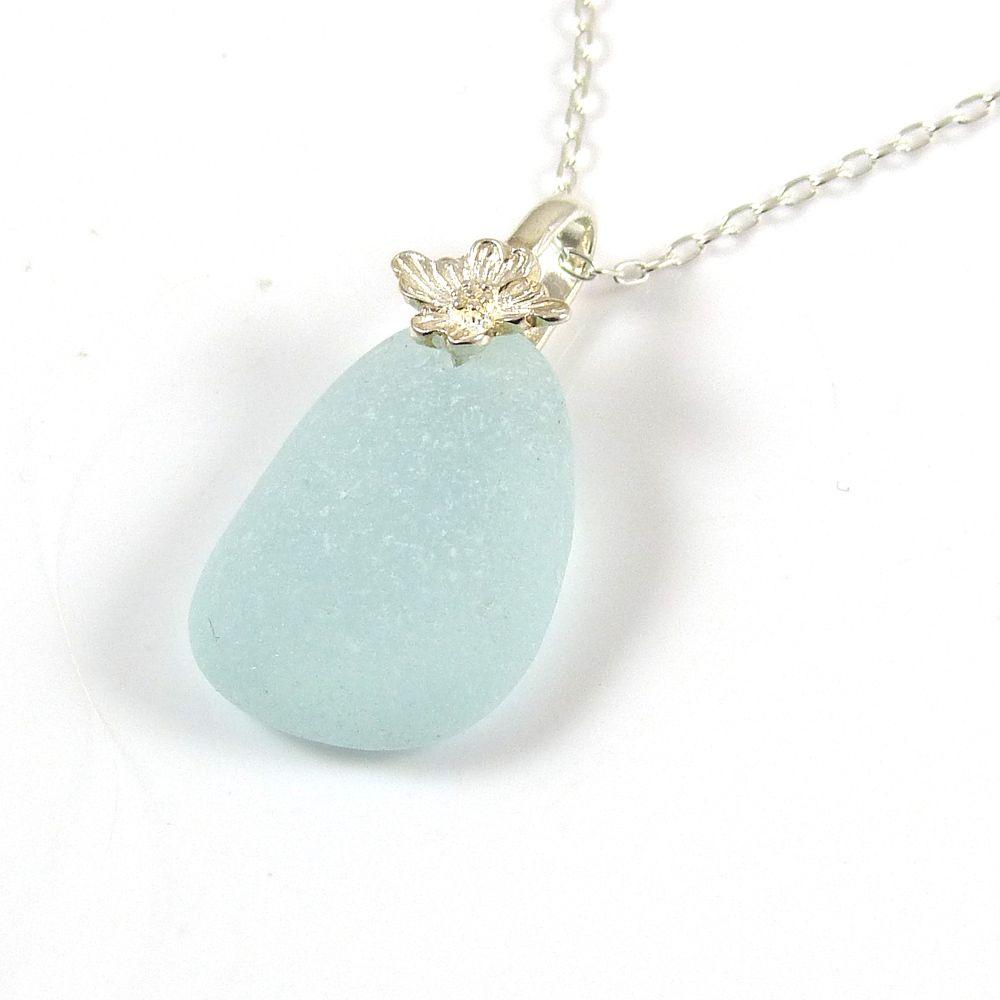 Aqua Blue Sea Glass Necklace CERYS