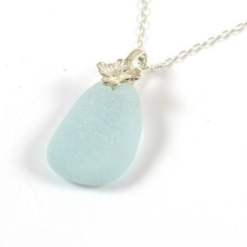 Aqua Blue Sea Glass Necklace CERYS