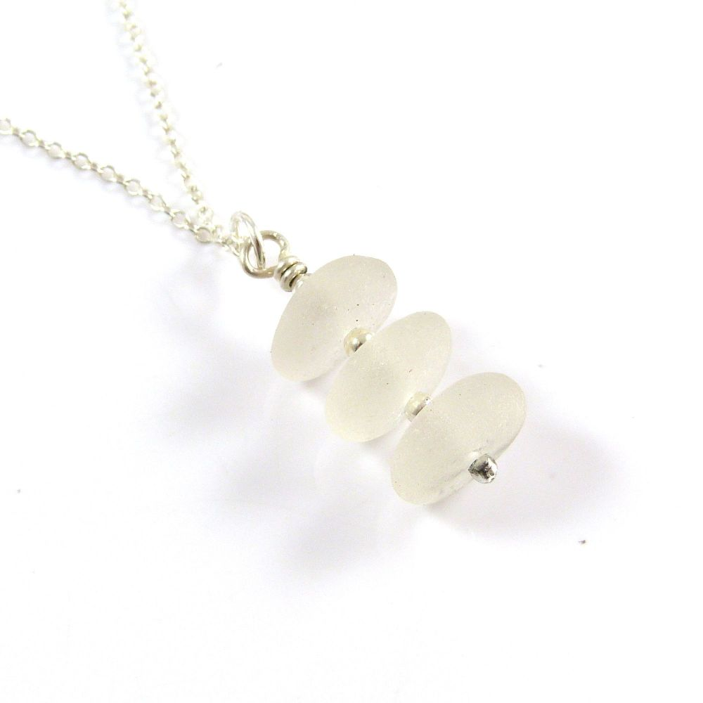 Shades of White Sea Glass Necklace KEIRA