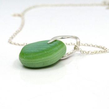 Pastel Green Milk Sea Glass Necklace ELINA