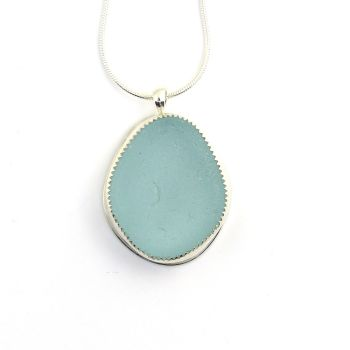 Aqua Sea Glass Pendant Necklace ZURI