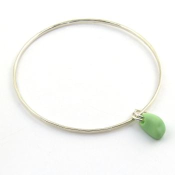 Sterling Silver Hammered Bangle with a Pastel Green Milk Sea Glass Charm