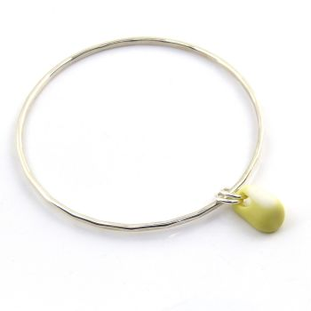 Sterling Silver Hammered Bangle with a Pastel Yellow Milk Sea Glass Charm