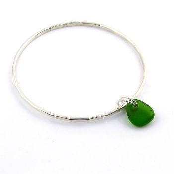 Sterling Silver Hammered Bangle and Emerald Green  Sea Glass Charm