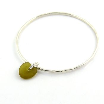 Sterling Silver Hammered Bangle and Peridot  Sea Glass Charm