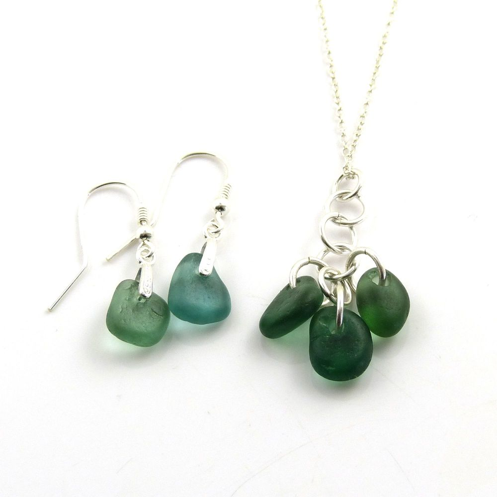 Shades of Jade Sea Glass Necklace and Earrings Set