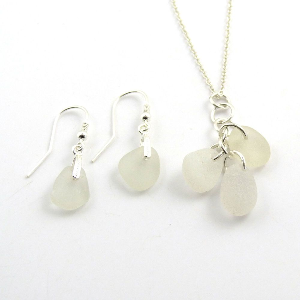 Shades of White Sea Glass Necklace and Earrings Set