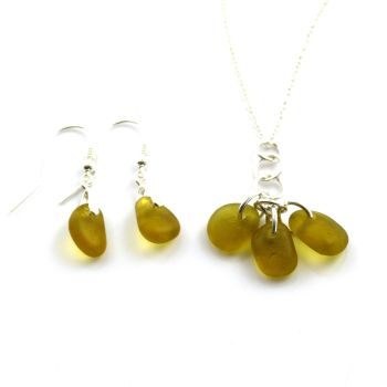 Shades of Amber Sea Glass Necklace and Earrings Set