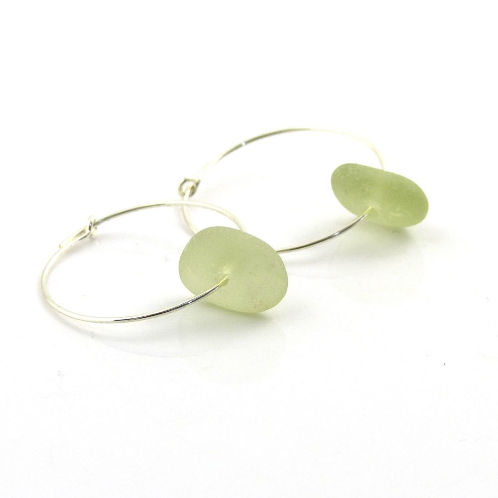 Peridot Sea Glass Sterling Silver Earrings