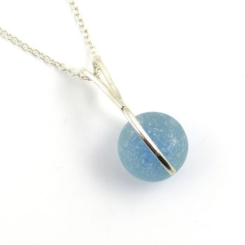 Powder Blue Sea Glass Marble Spinner Necklace
