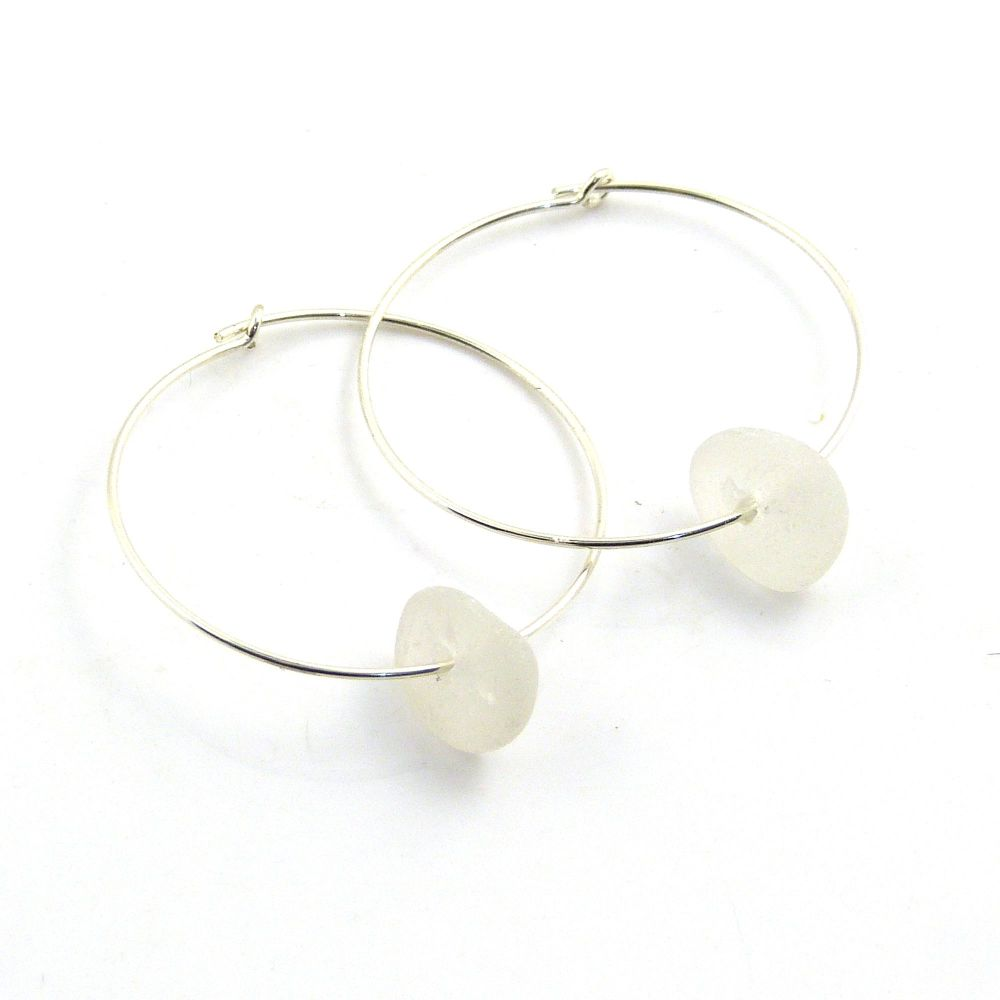 White Sea Glass Sterling Silver Earrings 30mm