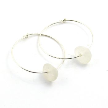 White Sea Glass Sterling Silver Earrings