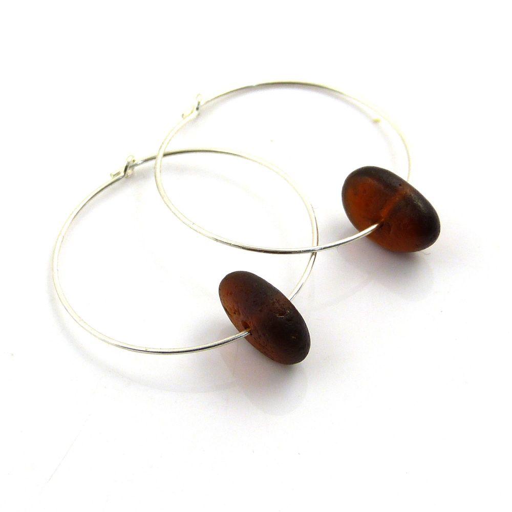 Brown Sea Glass Sterling Silver Hoop Earrings 30mm