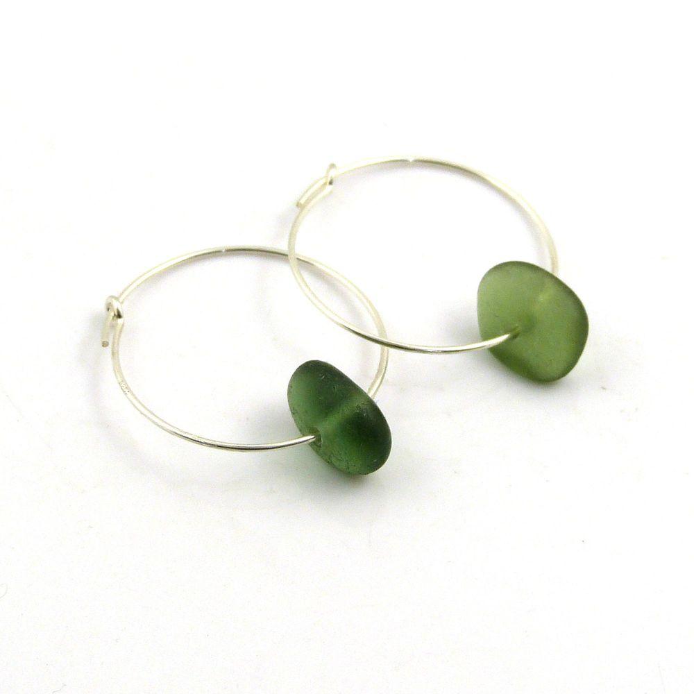 Green Sea Glass Sterling Silver Earrings 25mm