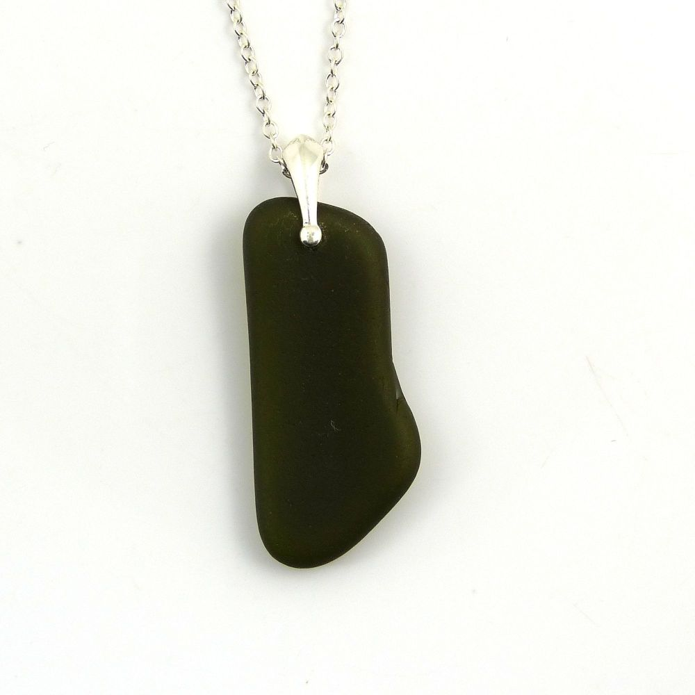 Deep Olive Green Sea Glass Necklace SILANA