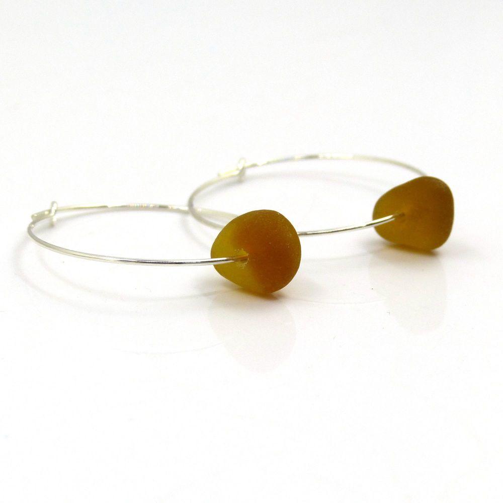 Amber Sea Glass and Sterling Silver Hoop Earrings