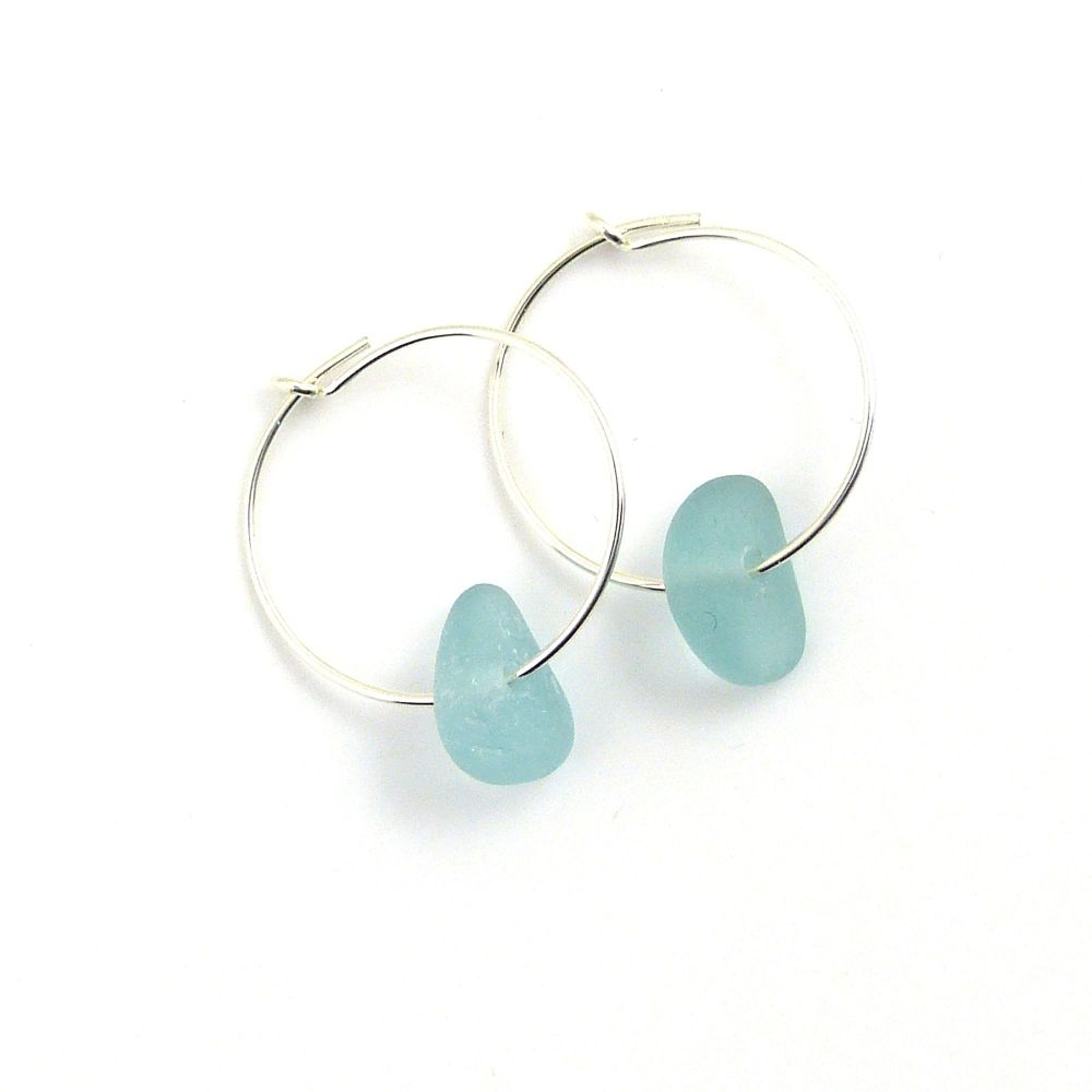 Pale Turquoise Sea Glass and Sterling Silver Hoop Earrings - Seaham Beach S