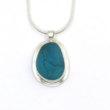 Turquoise Sea Glass Pendant Necklace NATALIA